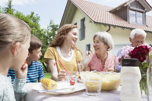 Extended family dining in garden - RBF004778