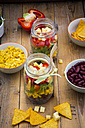 Tex-Mex salad in glasses and ingredients - LVF005166