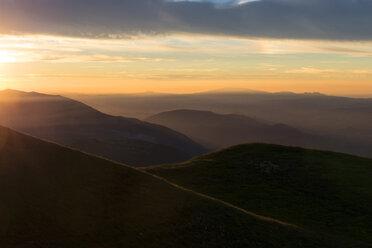 Italy, Umbria, Mt Acuto, Sunset over Apennine Mountains - LOMF000314