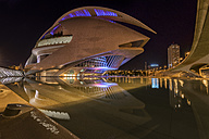Spain, Valencia, lighted L'Hemisferic and Palau de les Arts Reina Sofia at City of Arts and Sciences by night - LOM000319