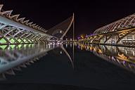 Spain, Valencia, lighted Ciudad de las Artes y de las Ciencias by night - LOM000322