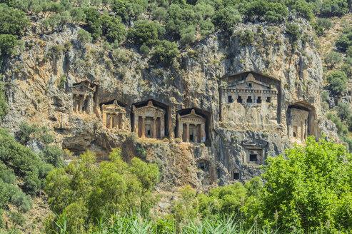 Turkey, Dalyan, Lycian rock tombs of the ancient city Kaunos - THAF001650