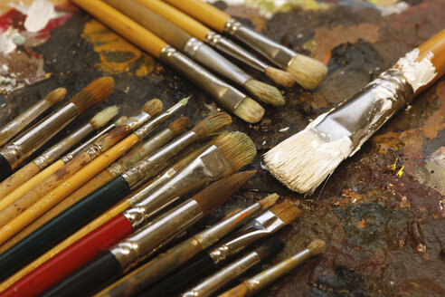 Different paintbrushes on artist's palette - JTF000764