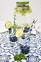 Glasses of infused water with lime, blueberries and mint - LVF005176