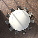 View to round conference table from above, 3D Rendering - UWF000934