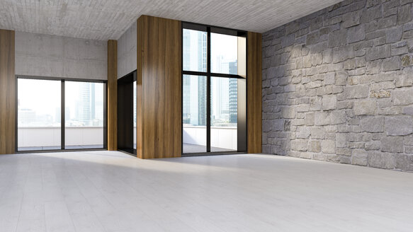 Empty room with wooden floor, natural stone and concrete wall, 3D Rendering - UWF000937
