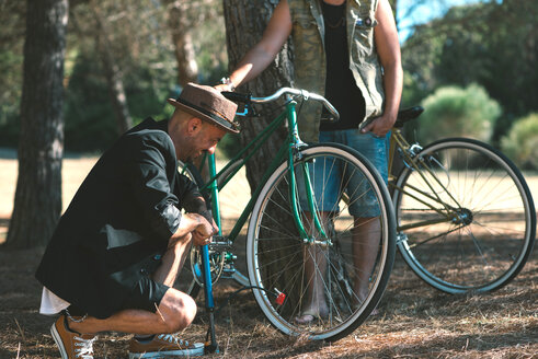 Friends in the woods with bicycles - SKCF000116