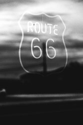 USA, California, Mojave Desert, neon sign of route 66 - GIOF001338