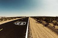 USA, California, Mojave Desert, view of empty route 66 - GIOF001341