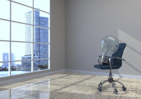 3D Illustration, swivel chair with bulb in an empty room - ALF000708