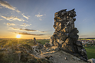 Germany, Thale, Weddersleben, Devil's Wall at sunset - PVCF000874