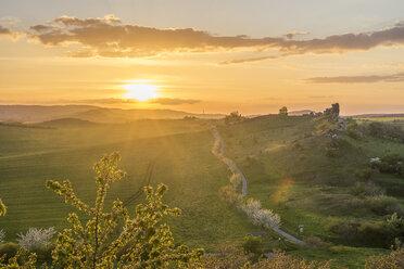 Germany, Thale, Weddersleben, Devil's Wall at sunset - PVCF000877