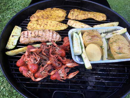 Opened kettled barbecue with meat, crayfish and vegetables on the grillage - ALF000712