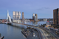 Netherlands, Rotterdam, Erasmusbrug and Nhow Hotel in the evening, blue hour - FCF001025