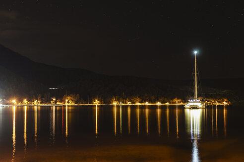 Croatia, Dalmatia, Slano, catamaran at night - CHPF000278