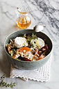 Hearty oat flakes bowl with fruits, goat cheese and thyme - EVGF003042