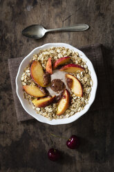 cherry smoothie bowl with peach and oat flakes, topping - EVGF003063