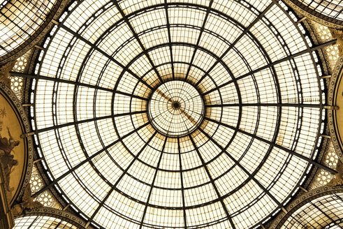 Italy, Milan, view to glass dome of Galleria Vittorio Emanuele II from below - CST001127