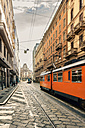 Italy, Milan, driving tramway on street - CST001133