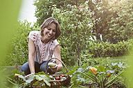 Smiling woman in garden harvesting vegetables - RBF004849