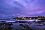 Australia, New South Wales, Sydney, Bronte beach and Coogee in the background in the evening - GOAF000059
