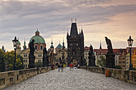 Czech Republic, Prague, Charles Bridge, Church of St Francis and Old Town Bridge Tower - GFF000733