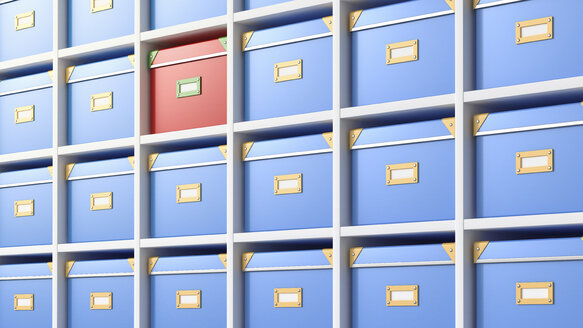 Boxes in a shelf, 3D Rendering - AHUF000210