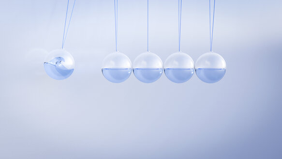 Newton's cradle filled with water, 3D Rendering - AHUF000213