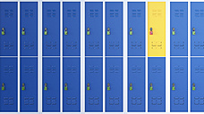 Yellow locker between rows of blue lockers, 3D Rendering - AHUF000222