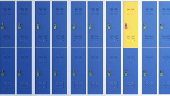 Yellow locker between rows of blue lockers, 3D Rendering - AHUF000222