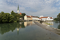 Germany, Bavaria, Allgaeu, Kempten, cityscape with St. Mang Church and river Iller - PCF000258