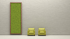 Two armchairs and living wall, 3D Rendering - UWF000942