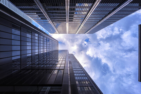 Canada, Ontario, Toronto, financial district, modern bank buildings, clouds, angle view - FCF001049