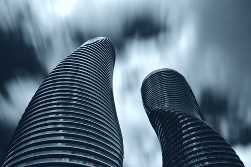 Canada, Ontario, Toronto, Absolute World Towers, Skyscrapers, moving clouds, long exposure - FC001055