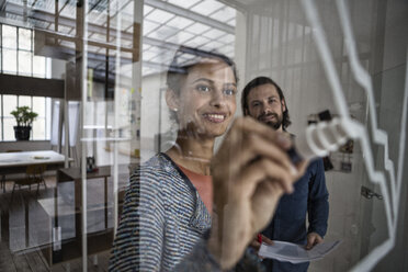 Smiling woman drawing on glass pane in office - RBF004965