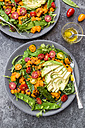Fresh salad with rocket, sweet potato, avocado, tomato, chia seeds, sugar shots - SARF002850