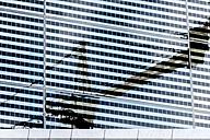 Norway, Oslo, reflection of construction crane, modern facade - CSTF001179