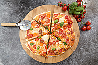 Vegetarian pizza with mozzarella and tomatoes - SARF002854