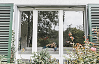 Woman on the phone behind window of a residential house - KNSF000254