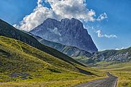 Italy, Abruzzo, Gran Sasso e Monti della Laga National Park, Corno Grande from plateau Campo Imperatore - LOMF000350