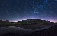 Italy, Abruzzo, Gran Sasso e Monti della Laga National Park, Corno Grande and lake Pietranzoni by night - LOMF000359