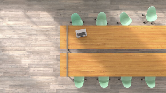 Meeting table with laptop, 3D Rendering - UWF000963
