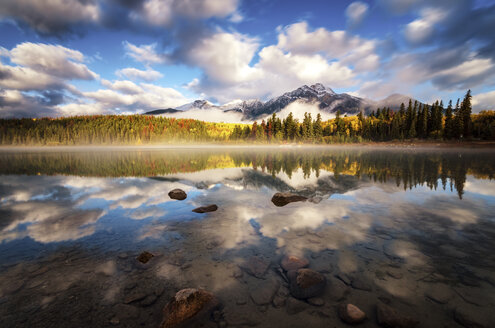 Canada, Jasper National Park, Jasper, Pyramid Mountain, Patricia Lake in the morning - SMAF000558
