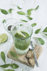 Green smoothie, ingredients, chia seeds, yogurt, spinach, avocado, cucumber, pear and lime - ASF005985
