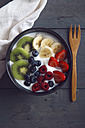 Bowl of natural yoghurt and different fresh fruits - RTBF000261