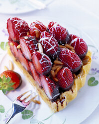 Piece of layered strawberry cake with pine nuts and chocolate icing - PPXF000034