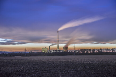 Germany, Lower Saxony, Helmstedt, Buschhaus Power Station in the evening - PVCF000892