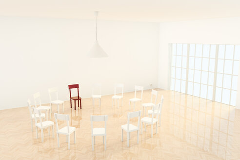 Circle of chairs, one red chair, 3D Rendering - CMF000553