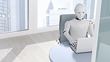 Robot on laptop, 3D Rendering - AHUF000223