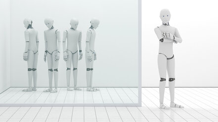 Robots out of order, storeroom, one standing at entrance, 3D Rendering - AHUF000226